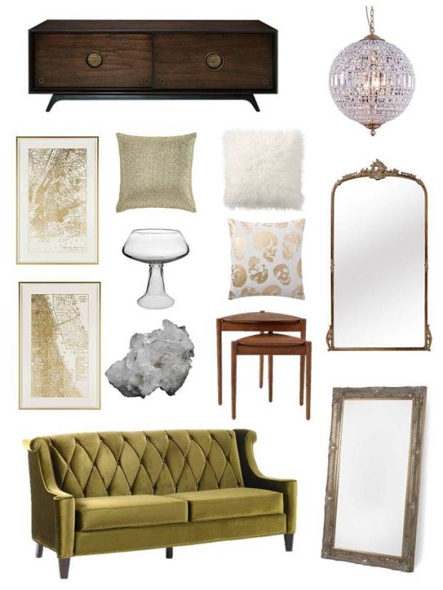 Hi lo olive modern glam living room sherrell ellyn for Glam modern living room