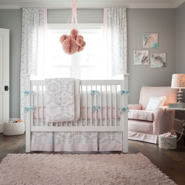 baby-nursery-epic-baby-room-decoration-using-white-crib-and-cozy-white-pink-bedding-also-blanket-complete-with-peach-hanging-ball-chandelier-and-rug-on-the-brown-wood-floor-plus-cozy-gli