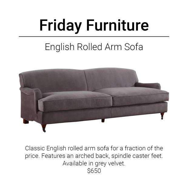 Friday Furniture- Grey Sofa