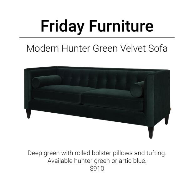 Friday Furniture- Hunter Green Sofa