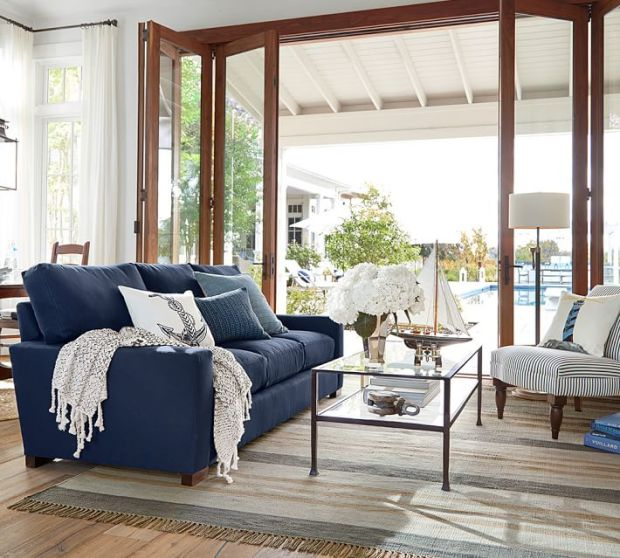 Pottery Barn Nautical Navy Living Room