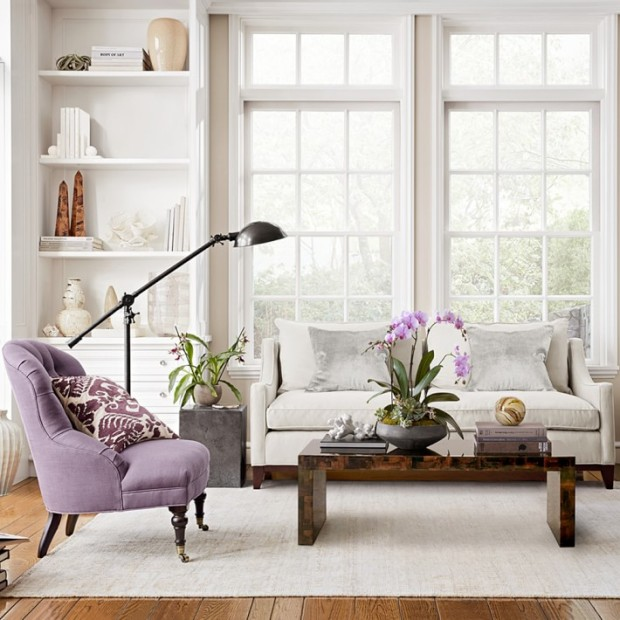 Purple and White Luxe Living Room