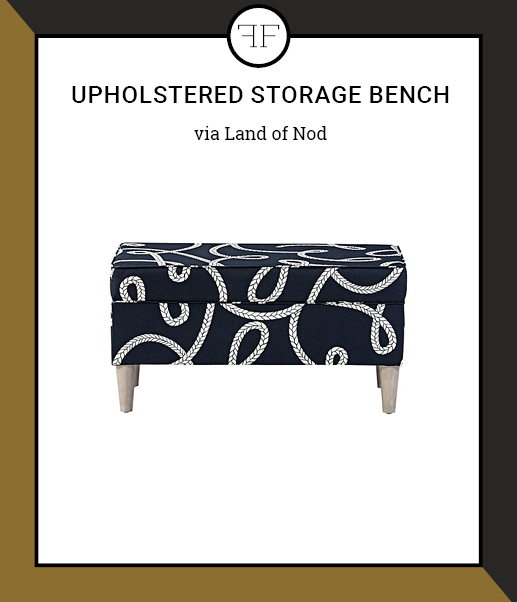 Friday Furniture- Upholstered Storage bench- Navy Rope